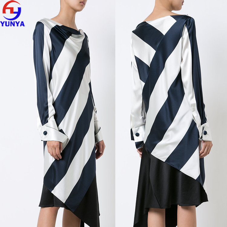 OEM factory supply ladies long sleeve navy blue and ivory white stripe long silk blouses