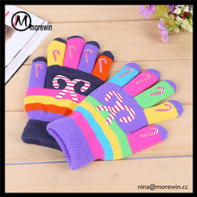 Morewin brand wholesale custom acrylic glove multi color striped printing pattern winter gloves kids magic stretch gloves