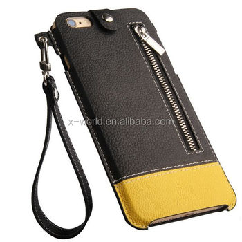 High quality PU leather mobile phone pouch for iphone6, slim leather phone case
