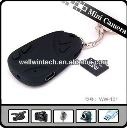 WELLWIN Factory outlet 808 car key camera 720X480 hidden car key mini DV micro camera