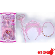 2014 Wholeale Cheap Lovely Jewelry Sets Kids Pink Beads Necklace And Cute Bracelet Sets For Girls Gift Jewelry Crown & Wand