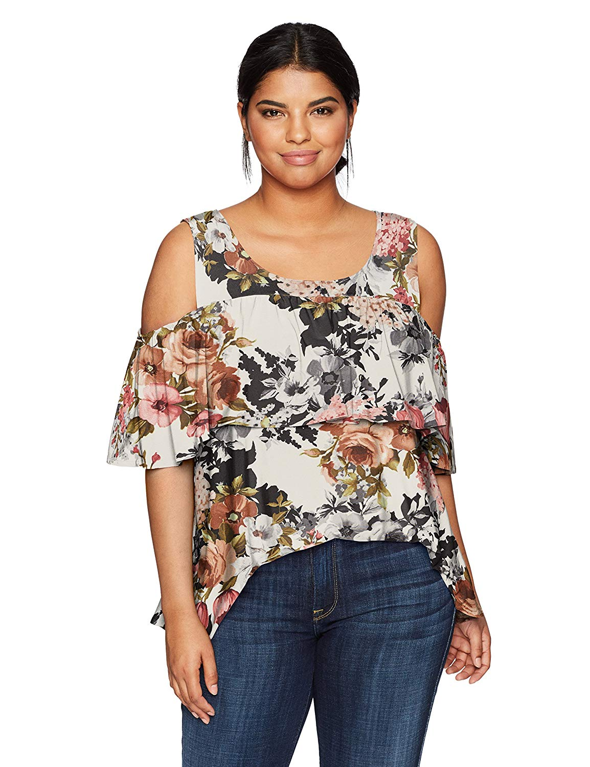 Get Quotations · Star Vixen Women s Plus Size Cold Shoulder Dramatic Ruffle  Peasant Top b6d5011ef