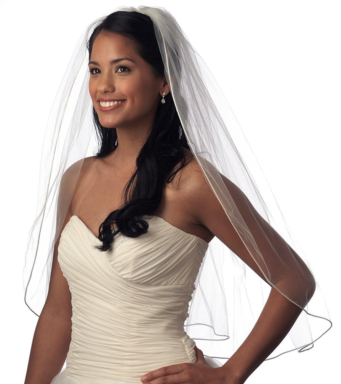 USABride Wedding Bridal Veil, 1 Single Layer, Satin Corded Edge, Elbow Length 423E