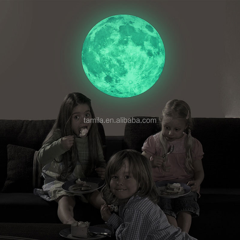 30CM Grey Full Moon Wall Stickers Creative Glow in the Dark Light Luminous Wall Art Decals for Home Room