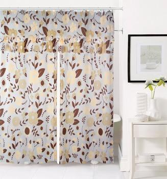 Flower Printed Plastic Luxury Shower Curtain