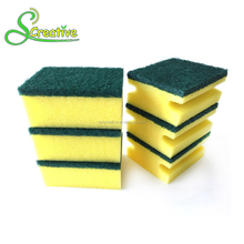 Wholesale abrasive polyester fabric foam scouring pad cleaning sponge