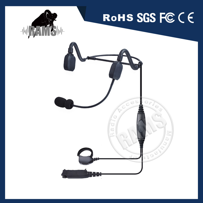 Behind the head Bone Conduction Headset with boom microphone and inline PTT