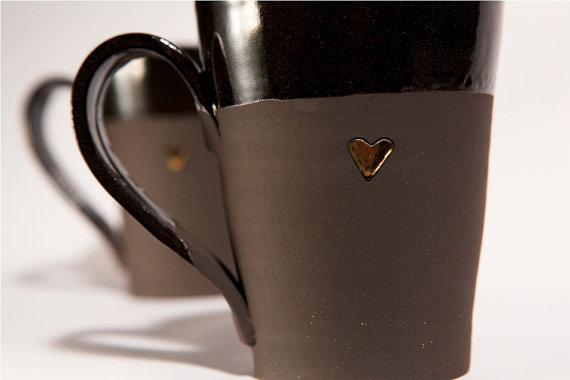 Large Black Coffee Tea Mugs