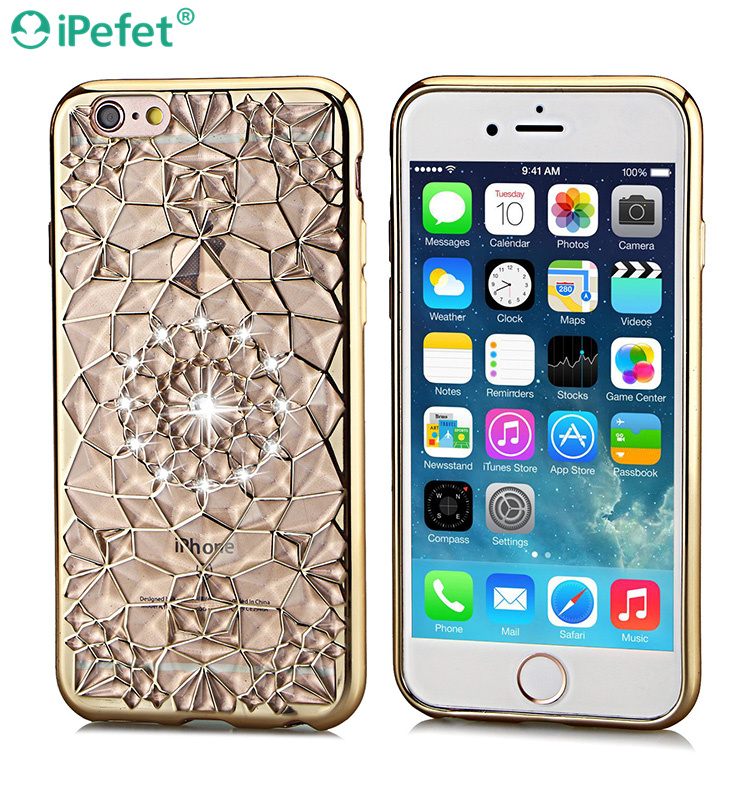 3D star shining sun flower electroplate soft tpu diamond back cover for iPhone 6