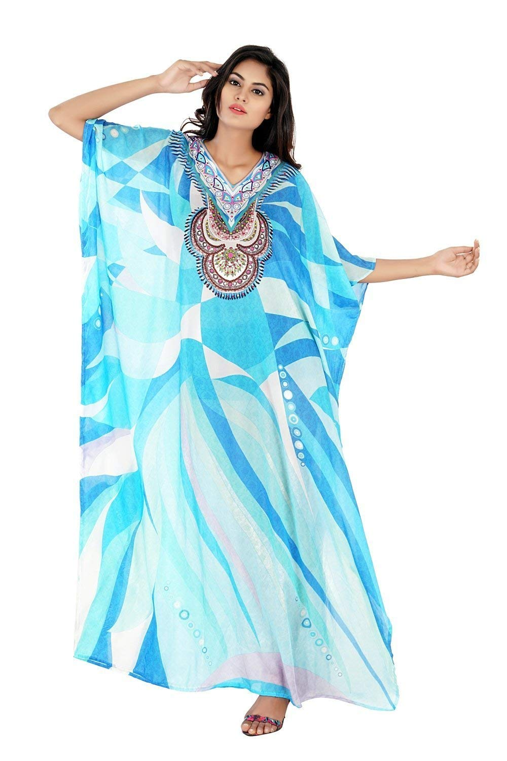 f9756fadfc Get Quotations · Heavily emblleshed maxi beach caftan long dressy/silk kaftan  beach and resort wear hand made
