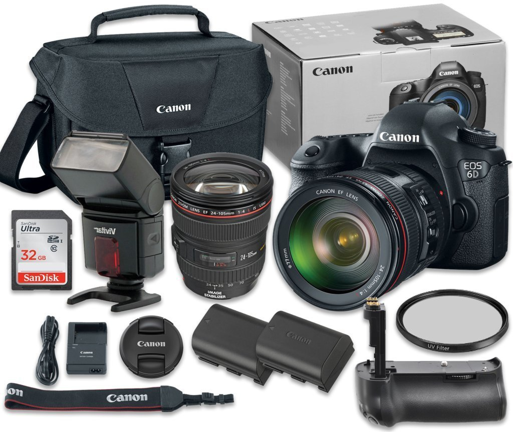 Canon EOS 6D 20.2 MP Full-Frame CMOS Digital SLR Camera Bundle with EF 24-105mm f/4 L IS USM Lens + SanDisk 32GB Ultra Class 10 SDHC + Accessory Kit