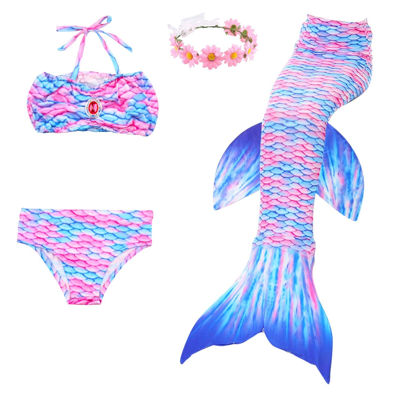 fa5b5a8e5e4db 3 Piece Mermaid Tail Swimsuit with Removable Fin and Included Flower  Garland Headband