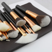 HOT BRAND 8/12/15 PCS ROSE GOLDEN COMPLETE MAKEUP BRUSH SET Professional Luxury Set Make Up Tools Kit Powder Blending brushes