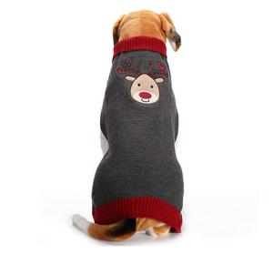 Wholesale Christmas Elk Design Easy Knit Dog Sweater Pattern Free Heated Dog Holiday Sweater