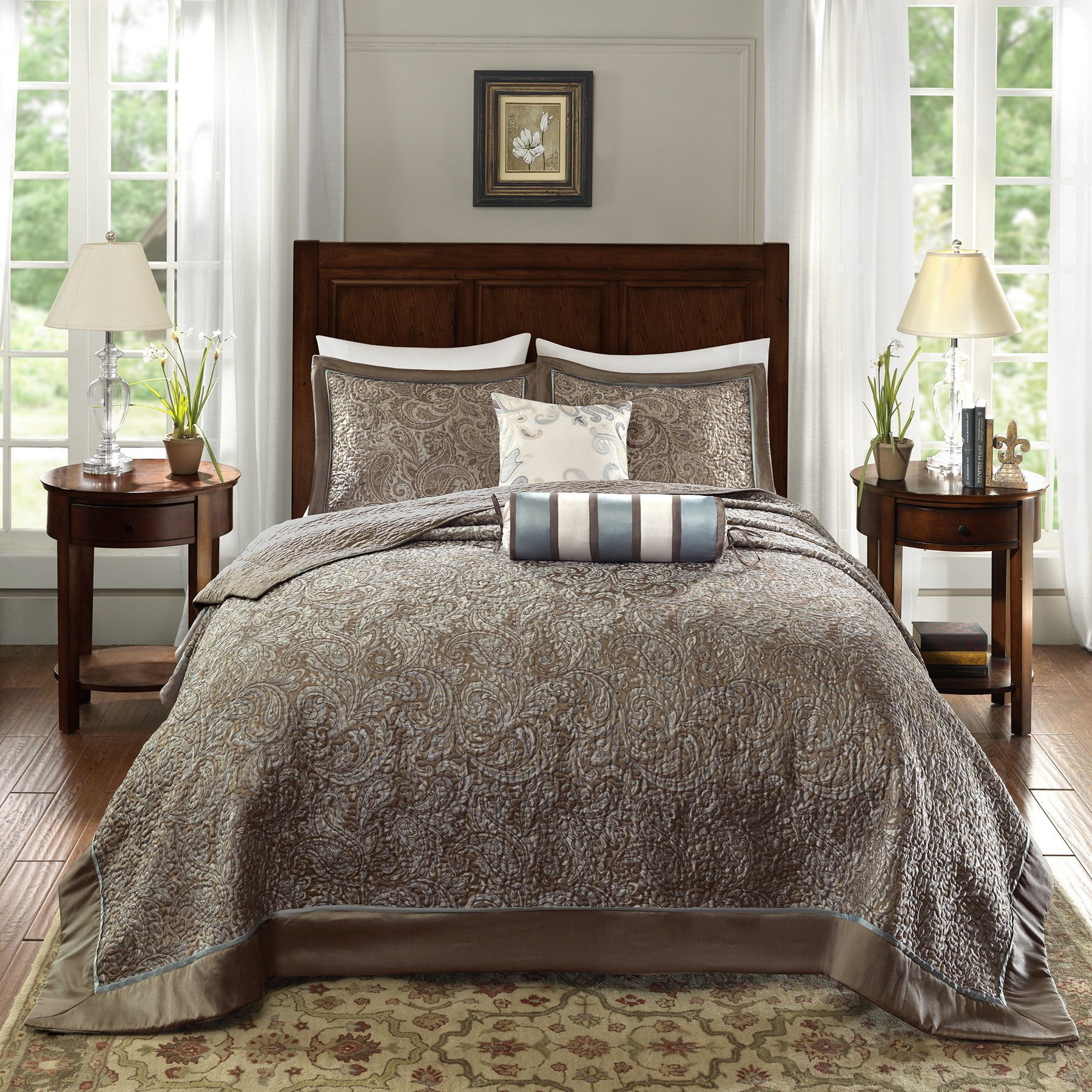 D&H 5 Piece 120 x 118 Oversized Blue Brown King Bedspread to The Floor Set, Extra Long Jacquard Paisley Bedding Xtra Wide Drops Over Edge Frame, Drapes Down Sides Hangs Over Bed, Polyester