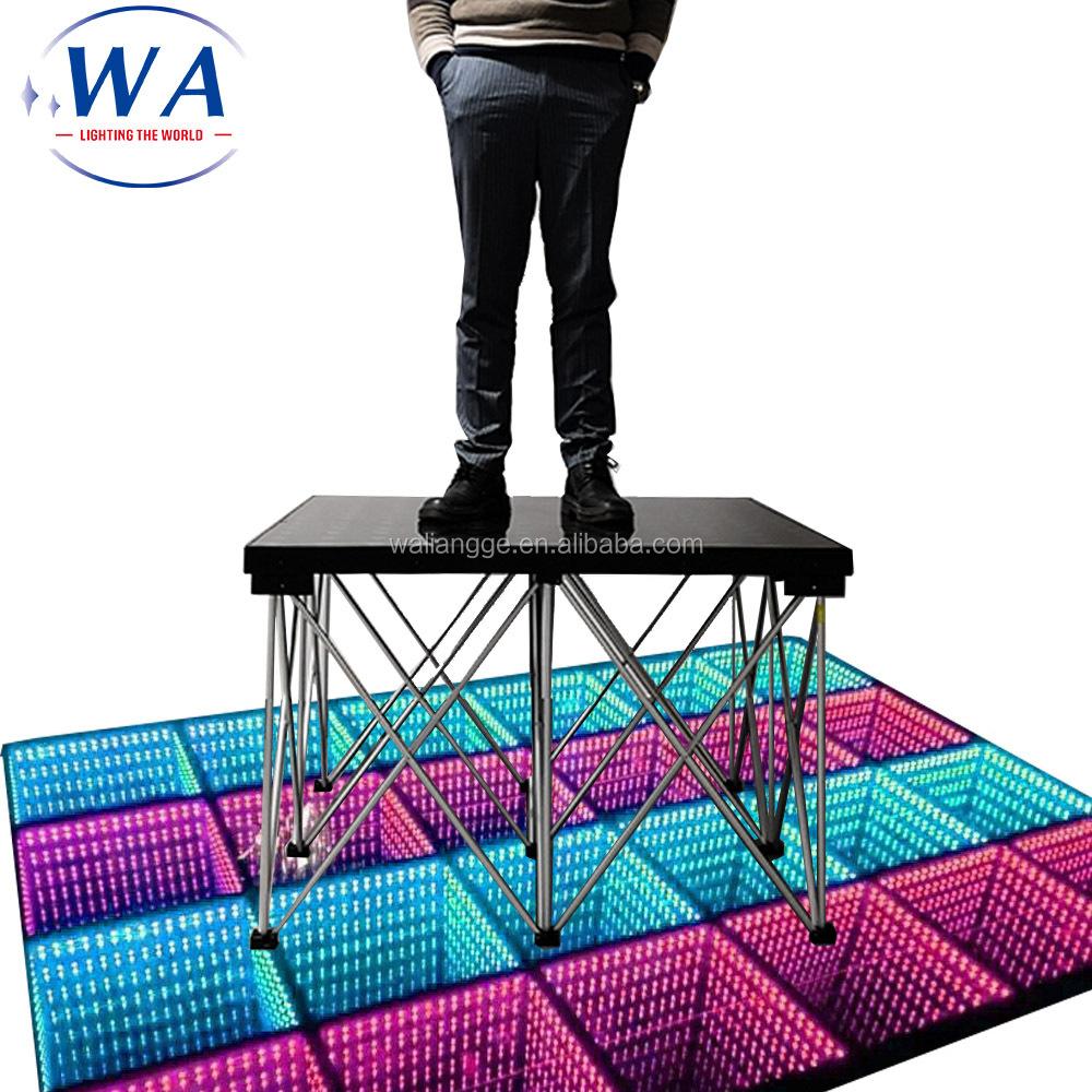fast setup 1mx1m led stage dance floor high loading 500kg/sq.m led folding stage