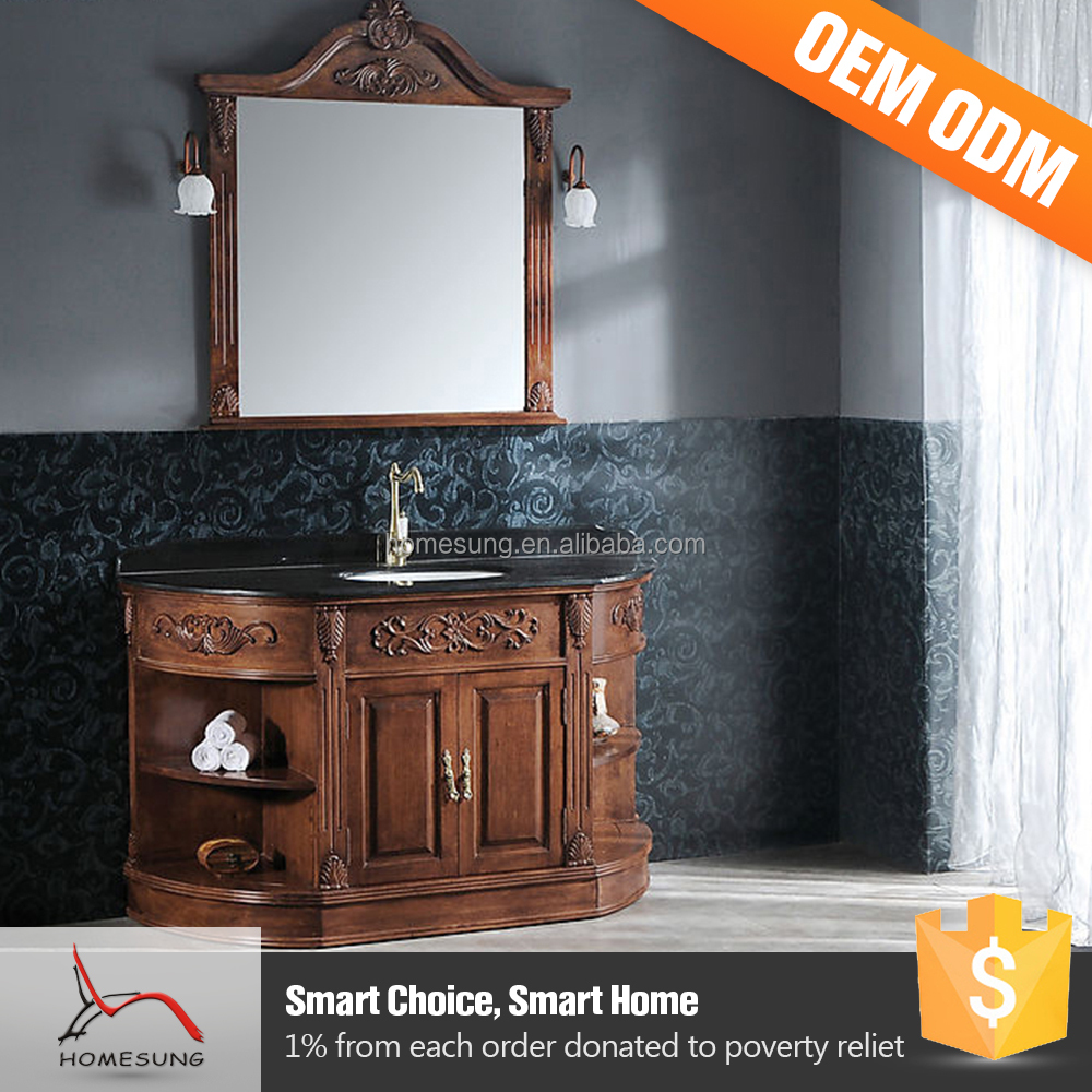 Cheap Wooden Cabinet Solid Oak Wood Single Bathroom Vanity With Mirror
