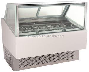 Stainless steel base popsicle freezer, gelato display showcase CE