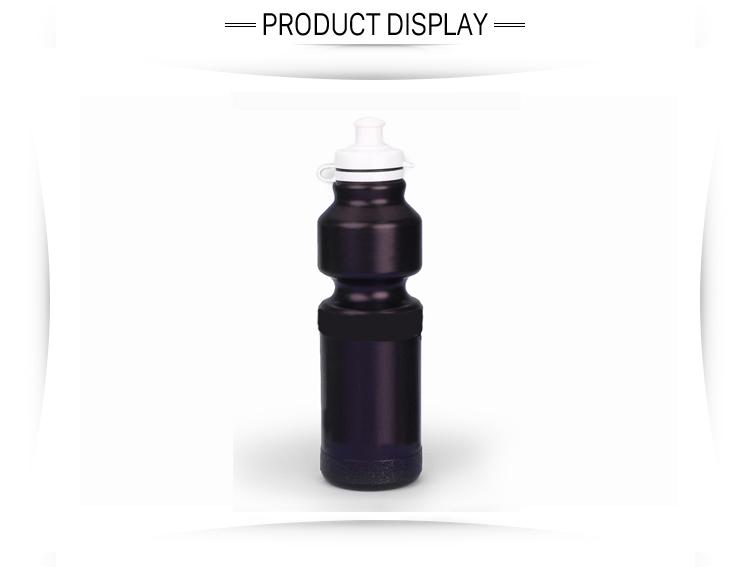 Botella deportiva de plástico negra para bicicleta de montaña/botella de agua deportiva de 750ml para uso alimentario