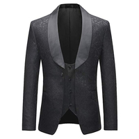 Mens 2 Pieces Tuxedos Vintage Groomsmen Wedding Suit Complete Outfits(Jackets+Vest+Trousers) Prom Formal Tuxedo Suit