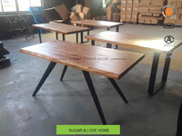 industrial loft style office furniture ,solid wood office table,office desk with metal legs