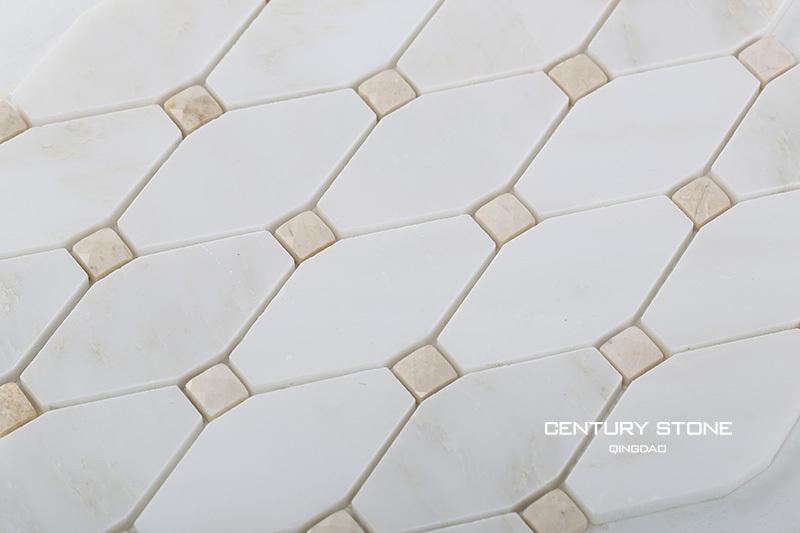 Lucido Marmo Bianco Lungo Octagon Mattonelle Di Mosaico Bagno
