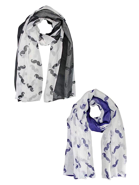 Black & Blue Sheer Mustache Fashion Print Scarf 2-Pack Set