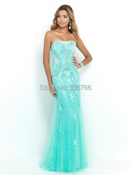 Strapless Lace Mint Green Prom Dress Sheath Tulle Formal Gowns 2015