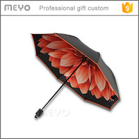 Double upside down flower print foldable umbrella for sale