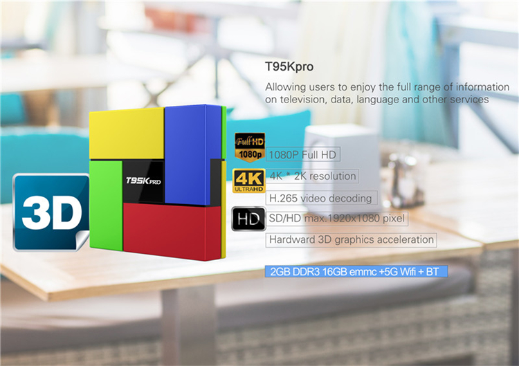 2019 hot sale T95K Pro 2G 16G android tv box uk with best quality and low price dual WIFI AD player TV BOX