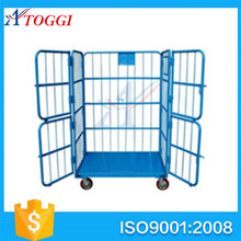 industrial folding wire mesh roll cage with 4 doors