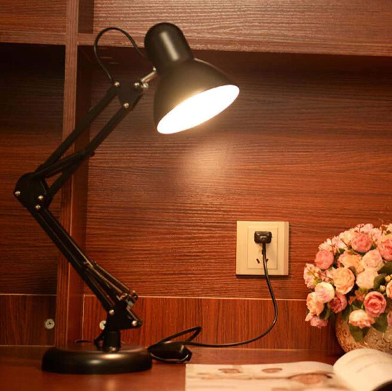 Led Eye Protection Desk Lamp American Iron Folding Eye Protection Desk Lamp Study Reading Clip Long Eye Protection Desk Lamp (Color : Black)
