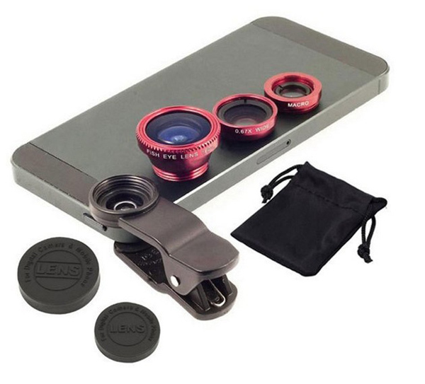 High Quality Clip 3in1 Fisheye fish eye Lens + Wide Angle + Macro Mobile Phone Lens photo Kit Set for Mobile Phone