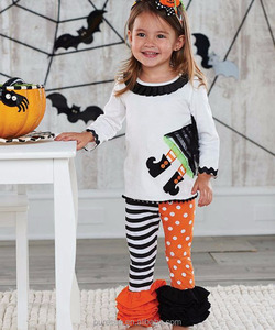 witch feet applique outfit halloween girl boutique clothing