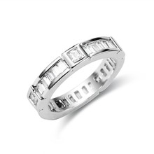 New AAA CZ Rhodium Plated Brass Simple Design Ring