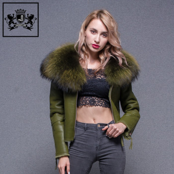 Modern Style Winter Fur Lining Leather Coat Women Fur Jacket Sheepskin Leather Coat With Big Raccoon Fur Collar