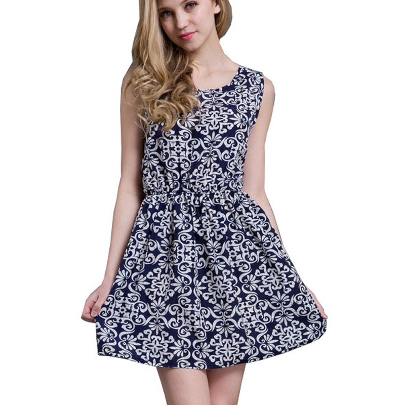 6a9bb8ea3027 Summer Dress Women 2015 European Style Casual Dresses Fashion Print  Sleeveless O-neck Chiffon Vest Dress Vestido De Festa