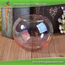 Iridescence liquid plated ball shaped round glass candle holder for home decor
