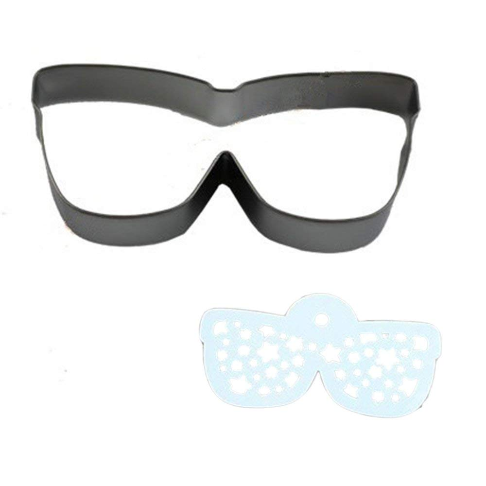 Stainless Steel Cookie Cutter Mold + Appropriate Cookie Spray/Brush Pattern 21# GLASSES