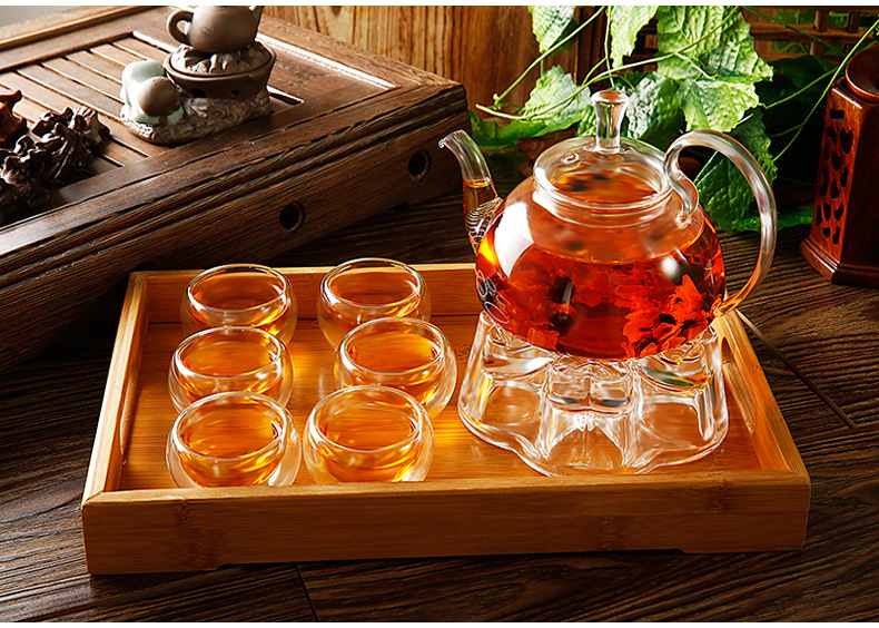 400ml Small Fire Resistant Borosilicate Glass Teapot With Stainless Steel Infuser For Blooming Tea