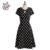 HAODUOYI Women Fashion Vintage Elegant Dot Short Sleeve A- Line Backless Slim Chiffon Dress Mini Summer