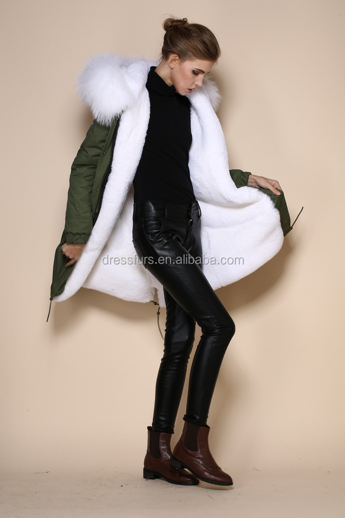 Fashion Winter Warm Women Ladies Cotton Raccoon Fur Trim Coat ...