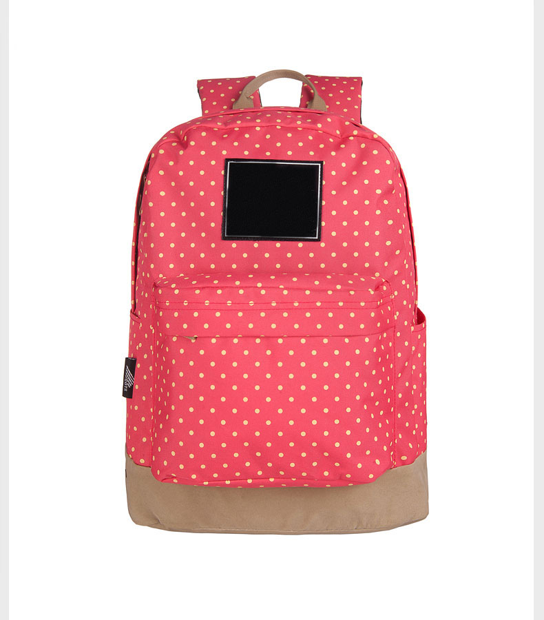 FuYuan factory 2017 leisure polka dot canvas pink travel time backpack laptop private label backpack with seven colors choose