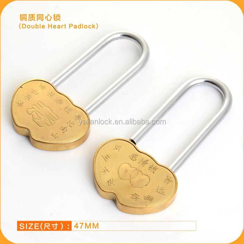 Long Shackle Type Brass Double Heart Padlock