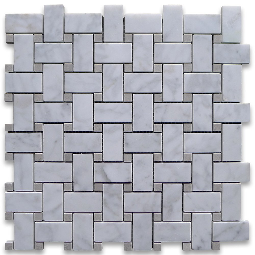 Cheap marble basketweave floor tile find marble basketweave floor carrara white italian carrera marble basketweave mosaic tile gray dots 1 x 2 honed dailygadgetfo Images