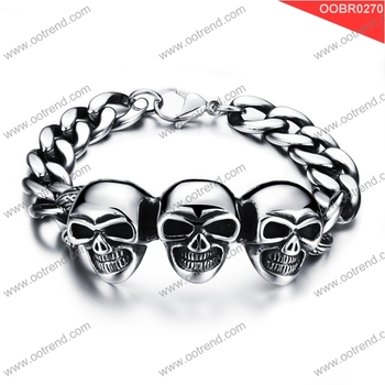 New bracelet design Best quality stainless steel skull bracelet for men