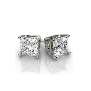 2019 New Hot Sales Fashion Wholesale princess cut diamond 14K white gold stud earring