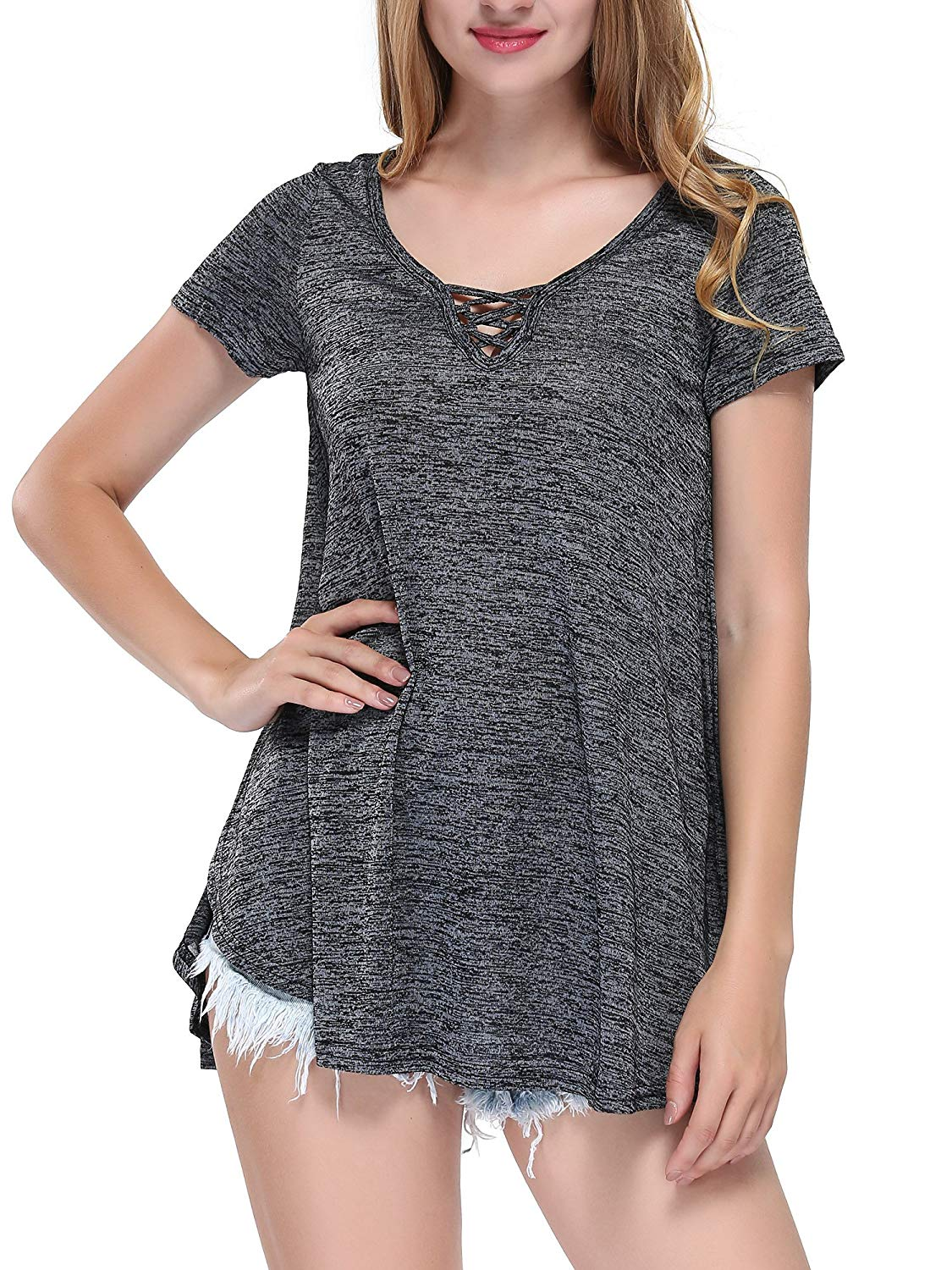 XWB Casual Soft Blouse Cross V Neck T-Shirts Short Sleeve Loose Fit Tunic Tops