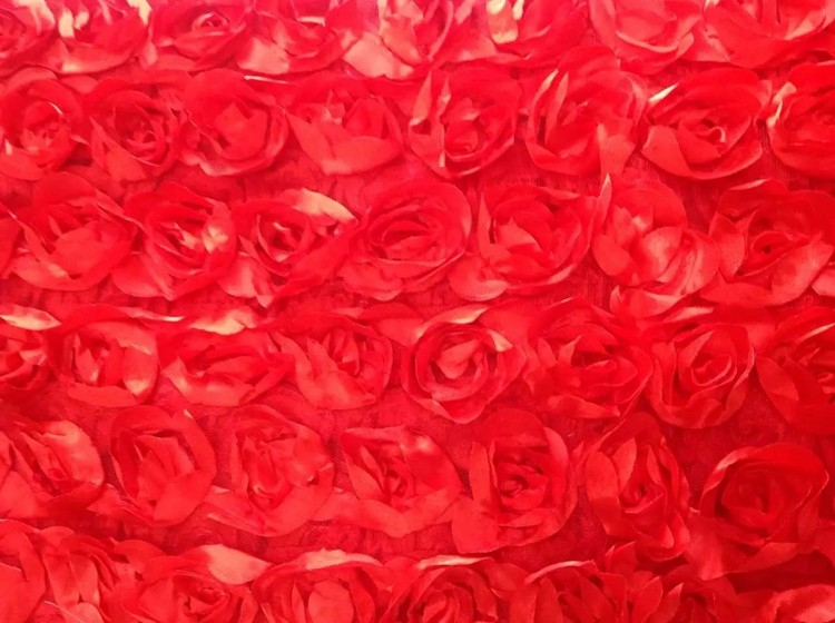 Huilun textile red rose patches ribbon embroidery fabric 100% polyester for fashion dress