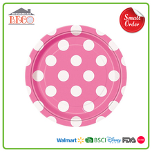Polka Dot Pink Color Plastic Round Plate With Own Design